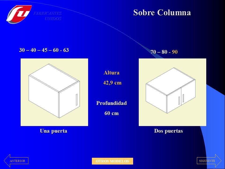 Sobre Columna 30 – 40 – 45 – 60 - 63 70 – 80 - 90 Altura 42,9 cm