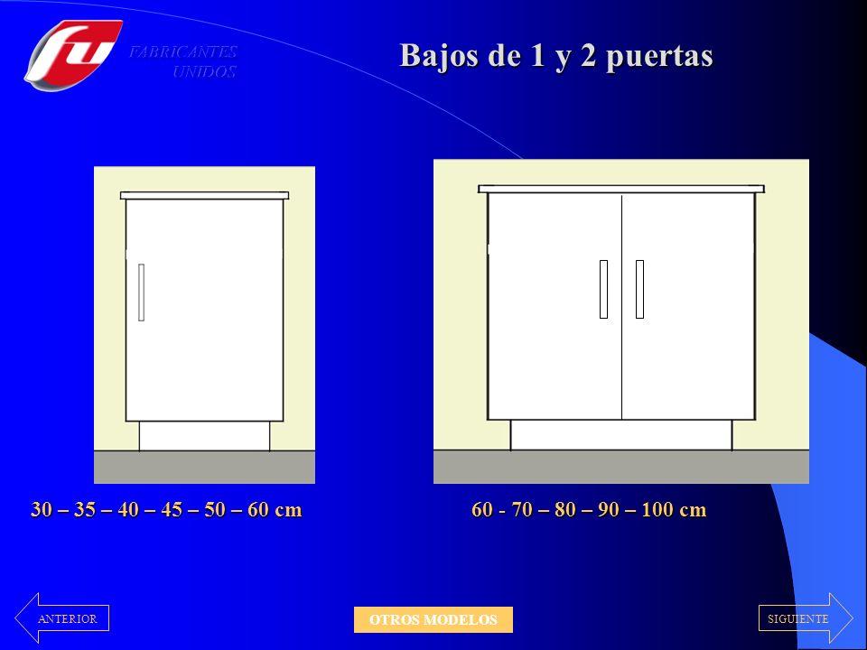 Bajos de 1 y 2 puertas 30 – 35 – 40 – 45 – 50 – 60 cm