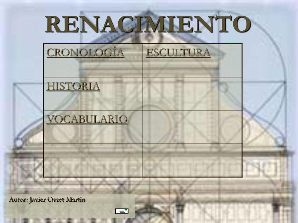 RENACIMIENTO CRONOLOGÍA ESCULTURA HISTORIA VOCABULARIO