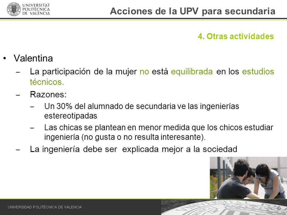 Acciones de la UPV para secundaria