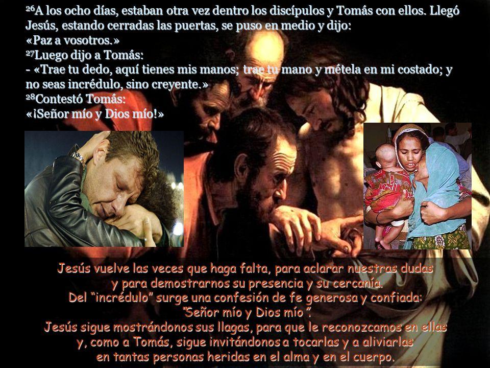 26A los ocho días, estaban otra vez dentro los discípulos y Tomás con ellos. Llegó Jesús, estando cerradas las puertas, se puso en medio y dijo: «Paz a vosotros.» 27Luego dijo a Tomás: - «Trae tu dedo, aquí tienes mis manos; trae tu mano y métela en mi costado; y no seas incrédulo, sino creyente.» 28Contestó Tomás: «¡Señor mío y Dios mío!»