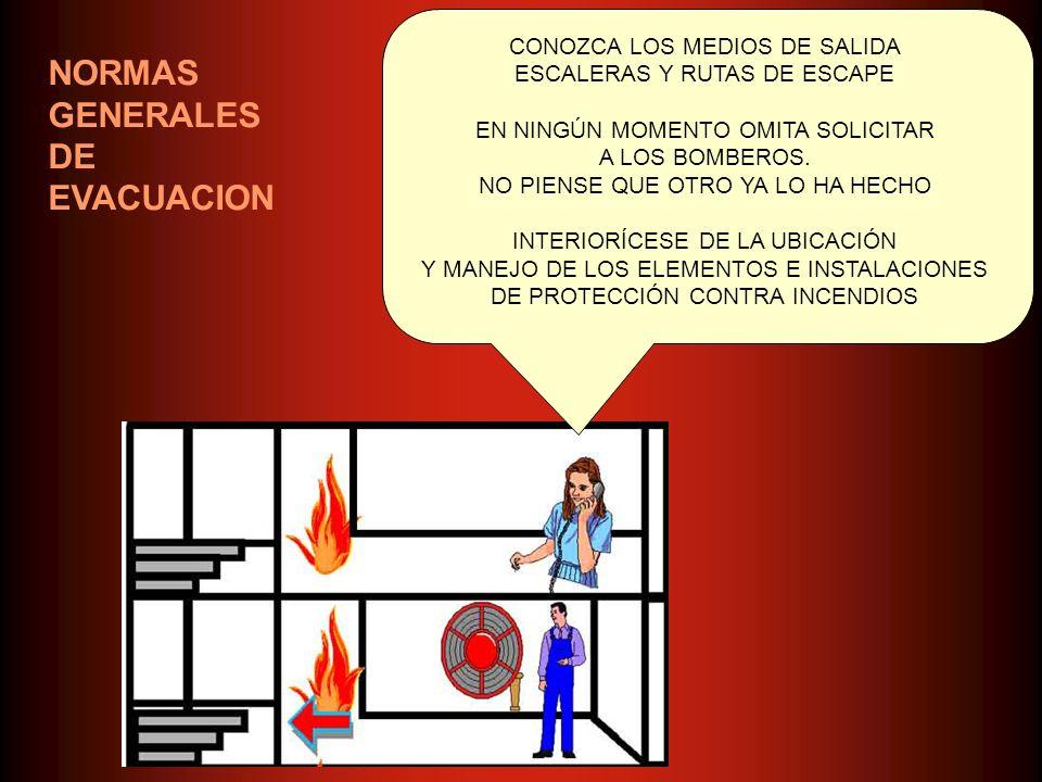 NORMAS GENERALES DE EVACUACION CONOZCA LOS MEDIOS DE SALIDA