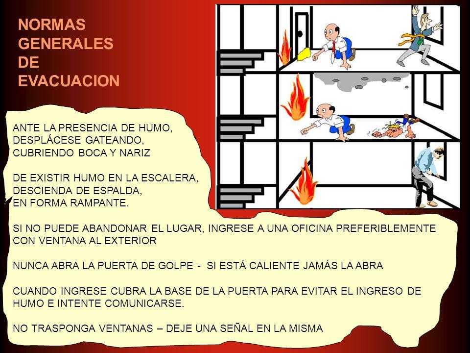 NORMAS GENERALES DE EVACUACION ANTE LA PRESENCIA DE HUMO,