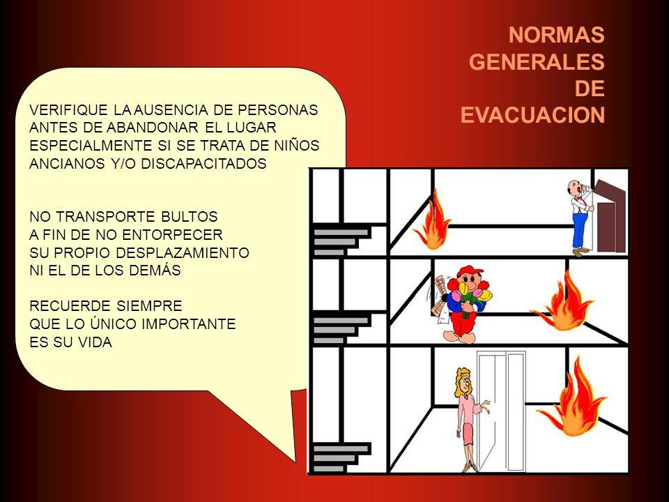 NORMAS GENERALES DE EVACUACION VERIFIQUE LA AUSENCIA DE PERSONAS