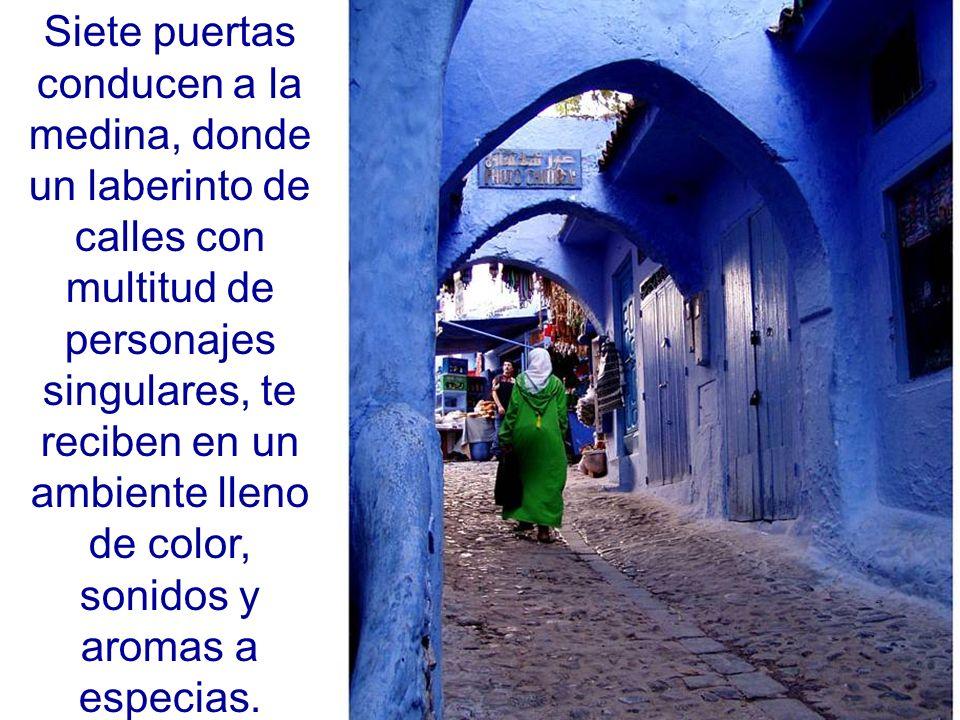 Siete puertas conducen a la medina, donde un laberinto de calles con multitud de personajes singulares, te reciben en un ambiente lleno de color, sonidos y aromas a especias.