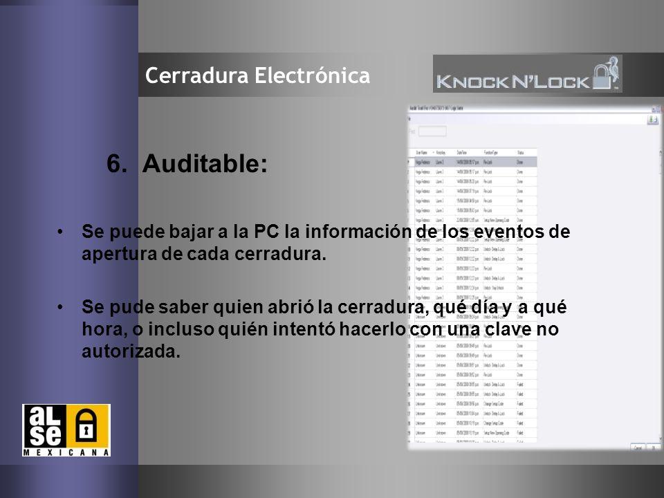 6. Auditable: Cerradura Electrónica