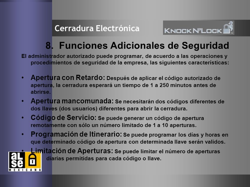 8. Funciones Adicionales de Seguridad