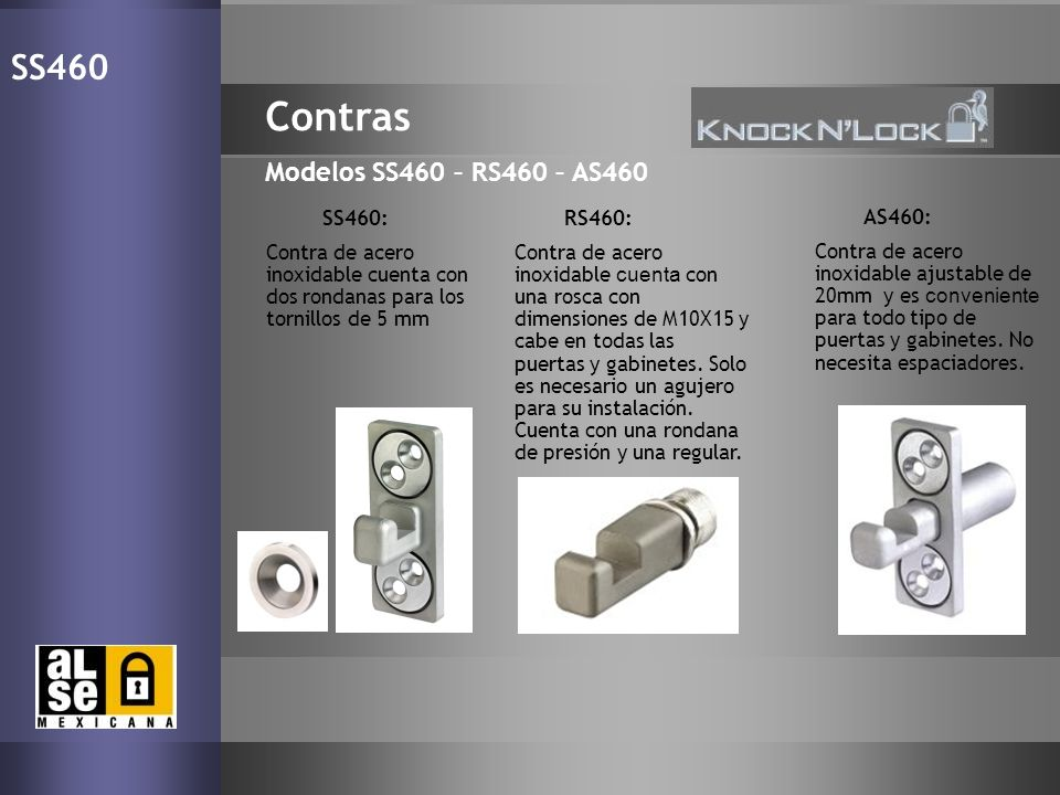 Contras SS460 Modelos SS460 – RS460 – AS460 17 SS460: