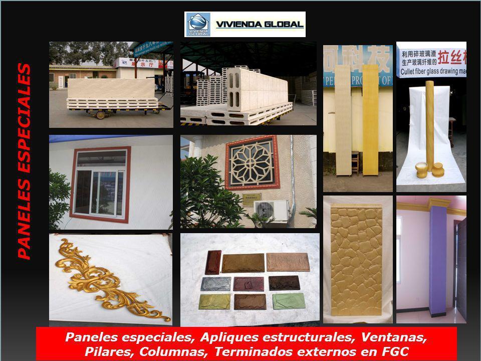 PANELES ESPECIALES Paneles especiales, Apliques estructurales, Ventanas, Pilares, Columnas, Terminados externos en FGC.