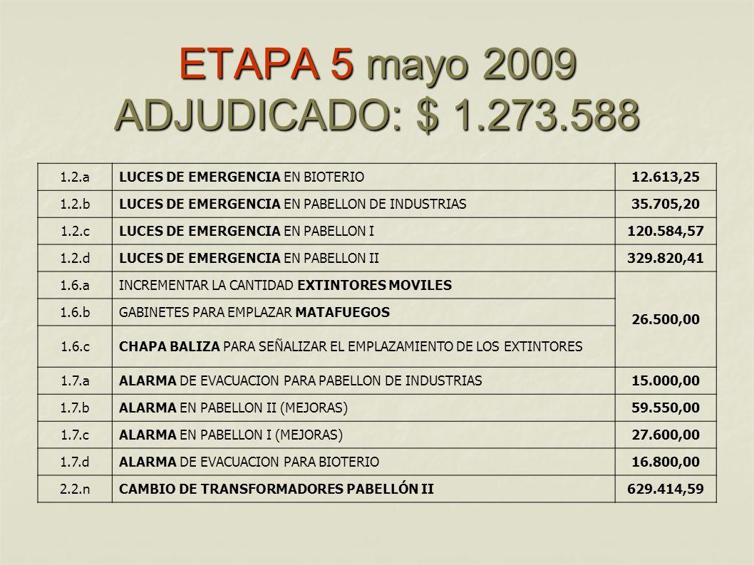 ETAPA 5 mayo 2009 ADJUDICADO: $ 1.273.588