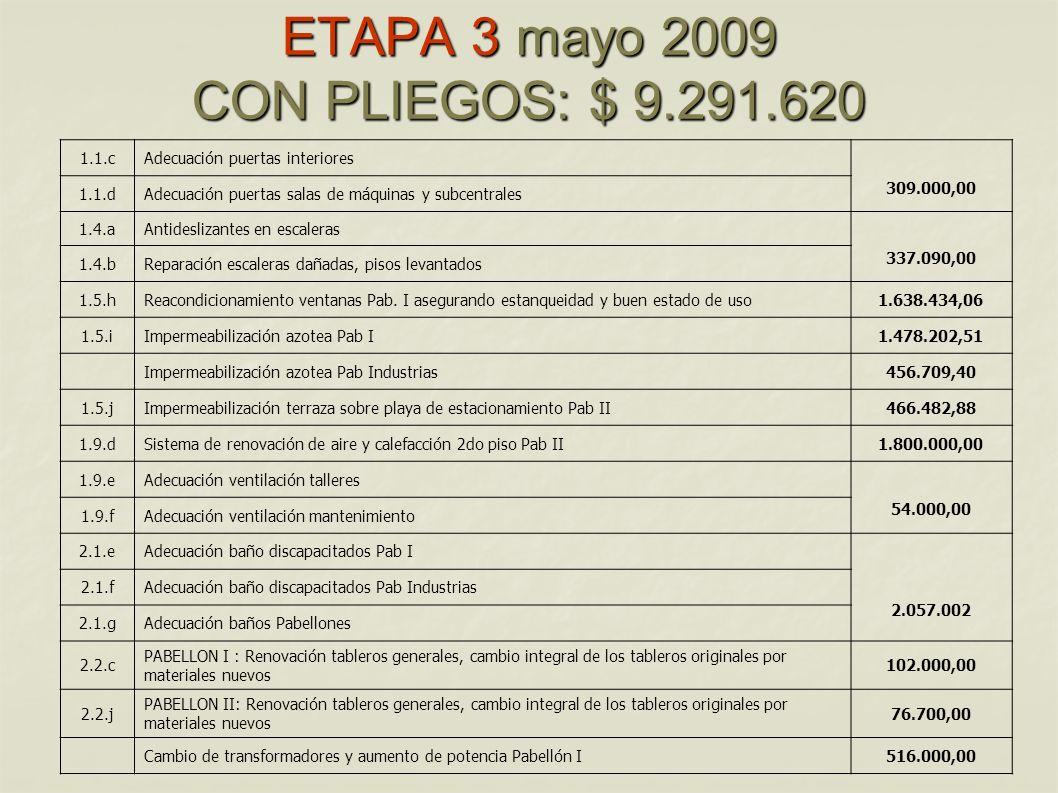 ETAPA 3 mayo 2009 CON PLIEGOS: $ 9.291.620
