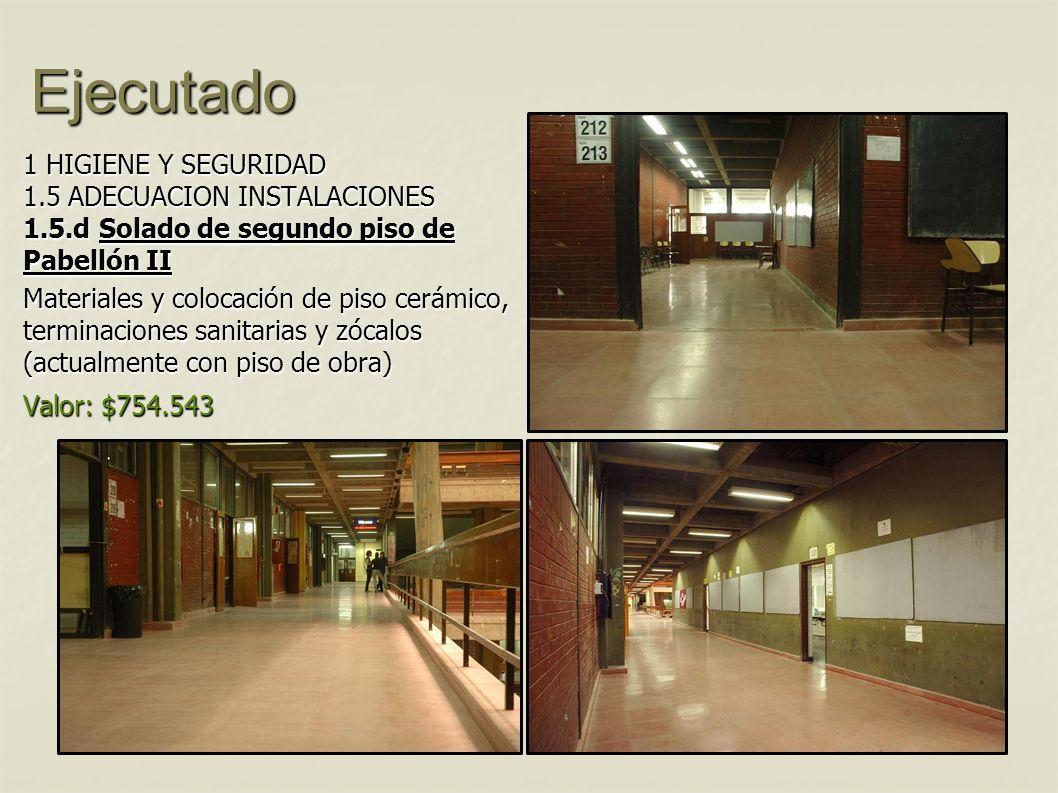Ejecutado 1 HIGIENE Y SEGURIDAD 1.5 ADECUACION INSTALACIONES 1.5.d Solado de segundo piso de Pabellón II.