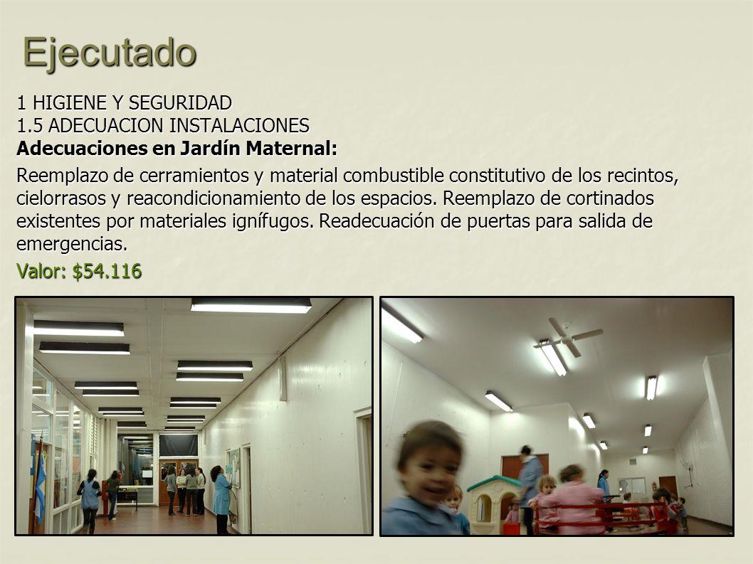 Ejecutado 1 HIGIENE Y SEGURIDAD 1.5 ADECUACION INSTALACIONES Adecuaciones en Jardín Maternal: