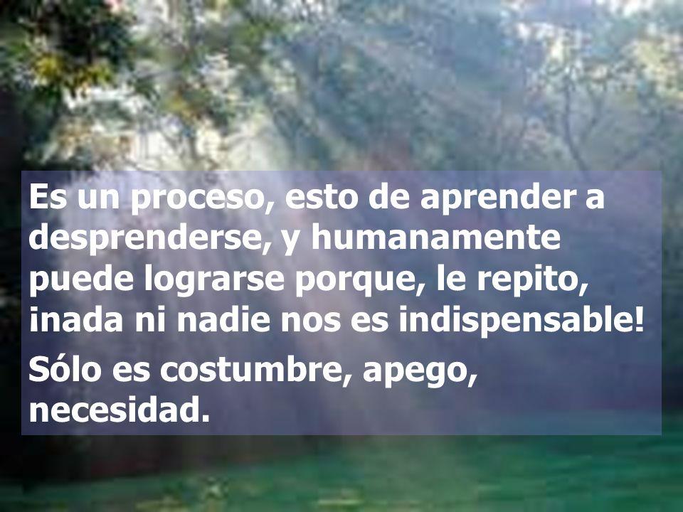 Es un proceso, esto de aprender a desprenderse, y humanamente puede lograrse porque, le repito, ¡nada ni nadie nos es indispensable!