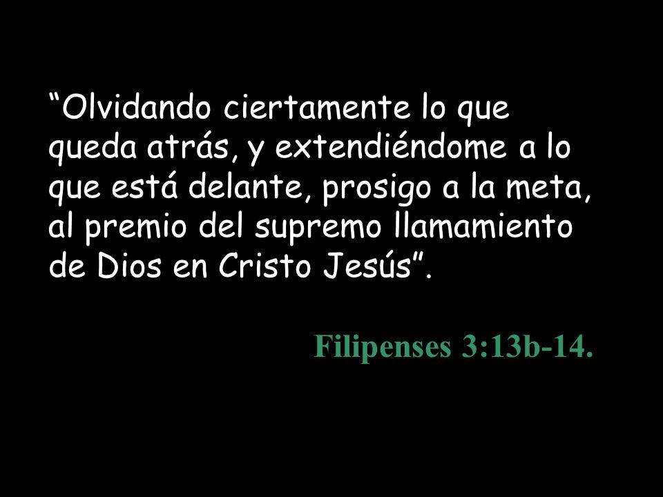 Olvidando ciertamente lo que queda atrás, y extendiéndome a lo que está delante, prosigo a la meta, al premio del supremo llamamiento de Dios en Cristo Jesús .