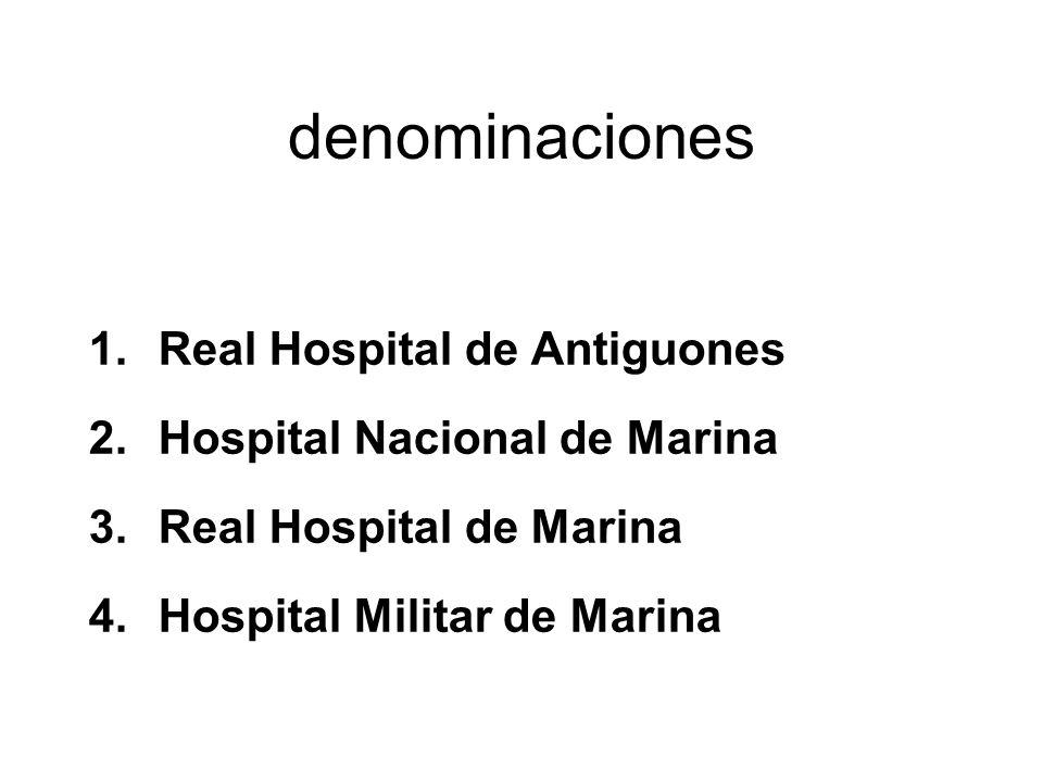 denominaciones Real Hospital de Antiguones Hospital Nacional de Marina
