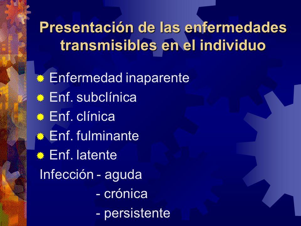 Presentación de las enfermedades transmisibles en el individuo