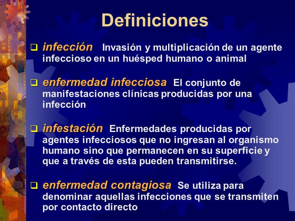 Definiciones infección Invasión y multiplicación de un agente infeccioso en un huésped humano o animal.