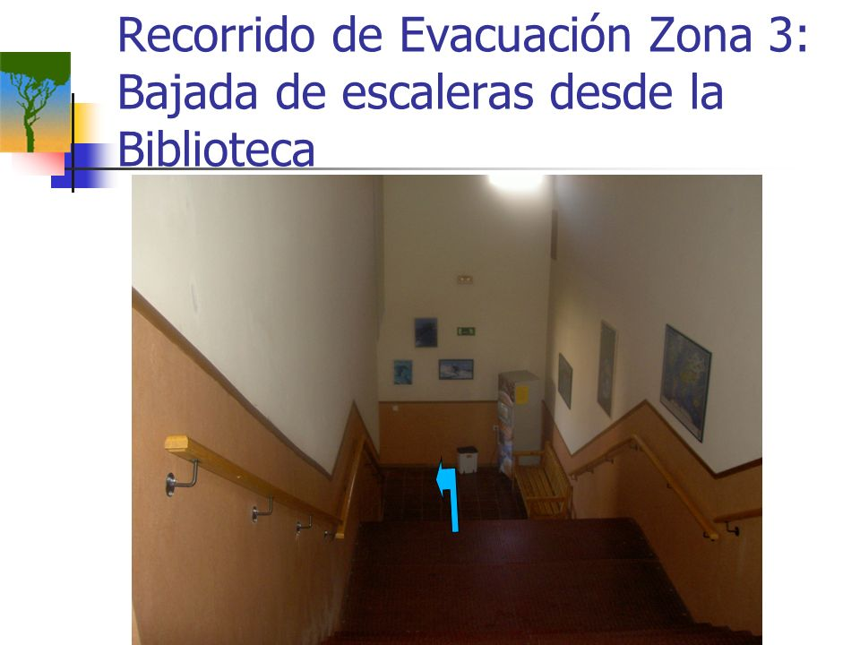 Recorrido de Evacuación Zona 3: Bajada de escaleras desde la Biblioteca