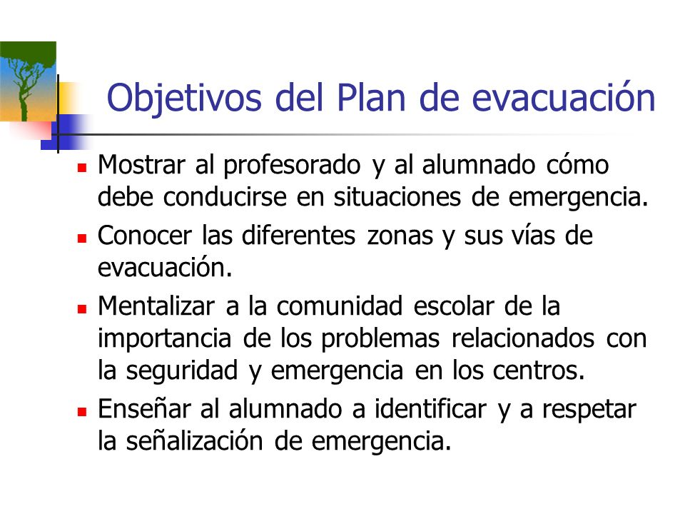 Objetivos del Plan de evacuación