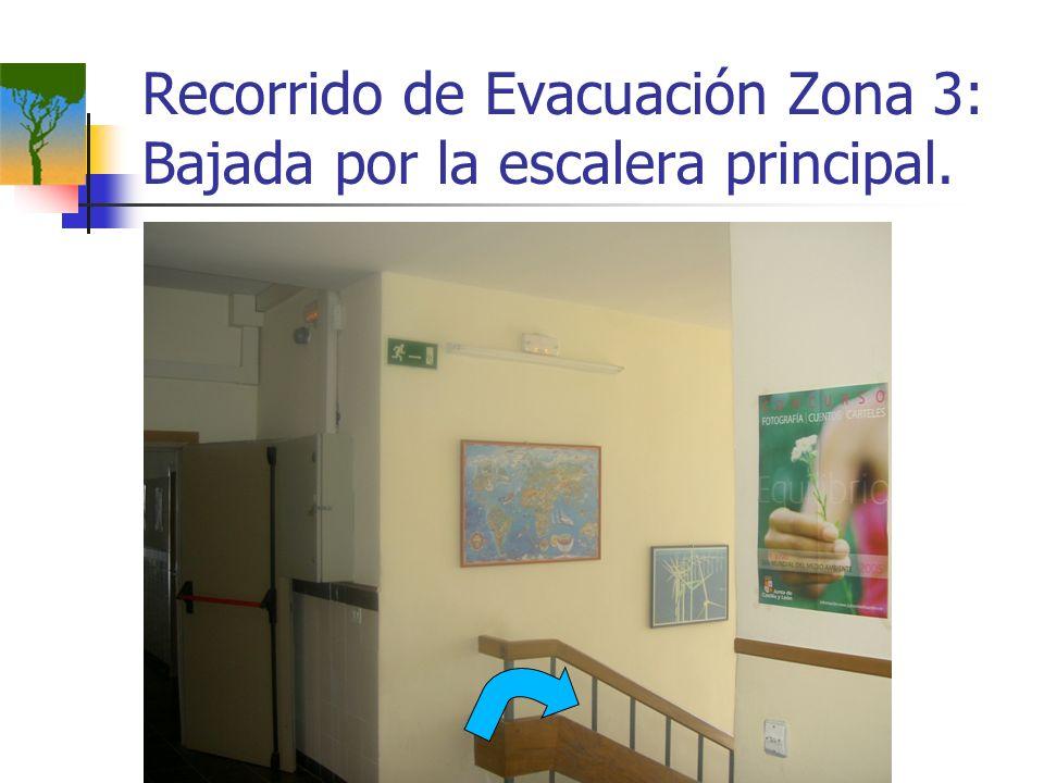 Recorrido de Evacuación Zona 3: Bajada por la escalera principal.