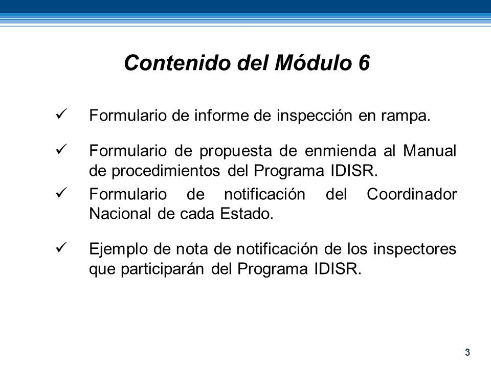 Contenido del Módulo 6 Formulario de informe de inspección en rampa.