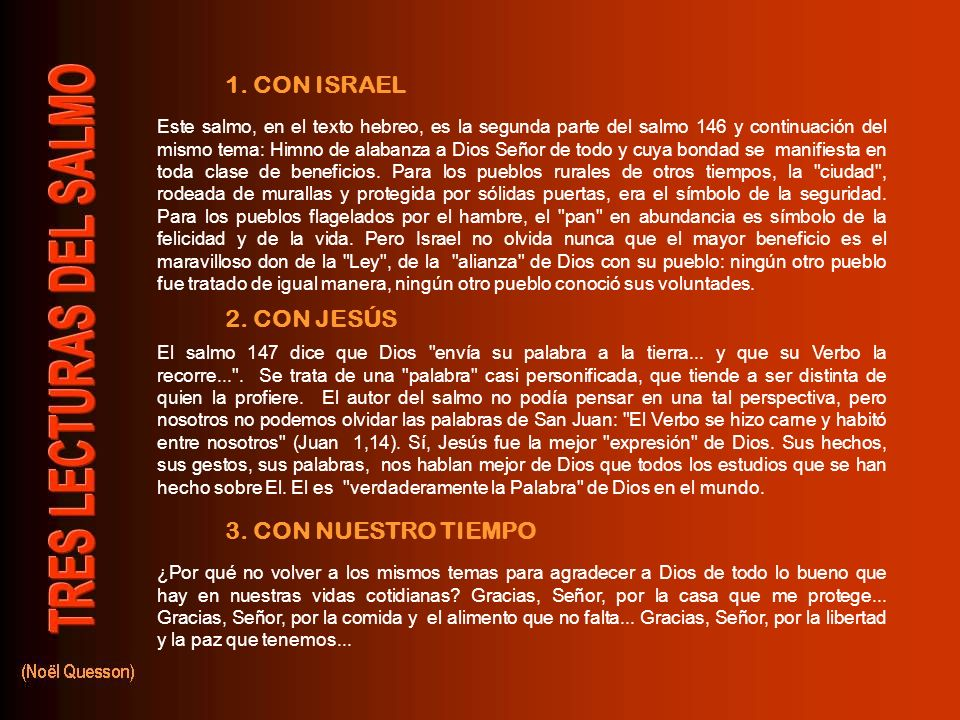 1. CON ISRAEL 2. CON JESÚS 3. CON NUESTRO TIEMPO