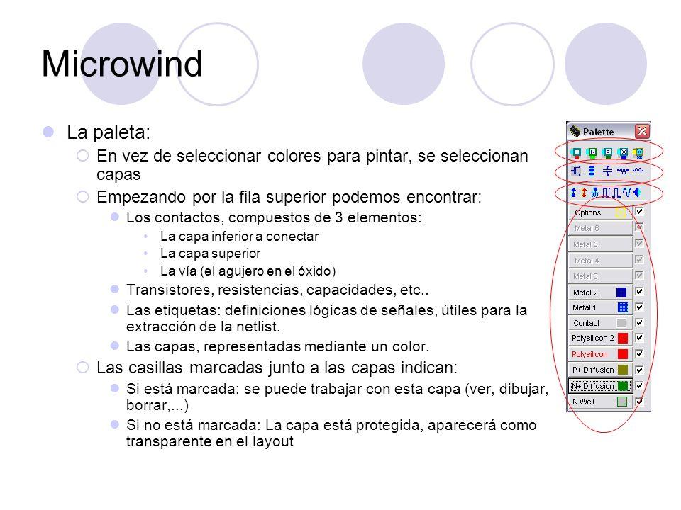 Microwind La paleta: En vez de seleccionar colores para pintar, se seleccionan capas. Empezando por la fila superior podemos encontrar: