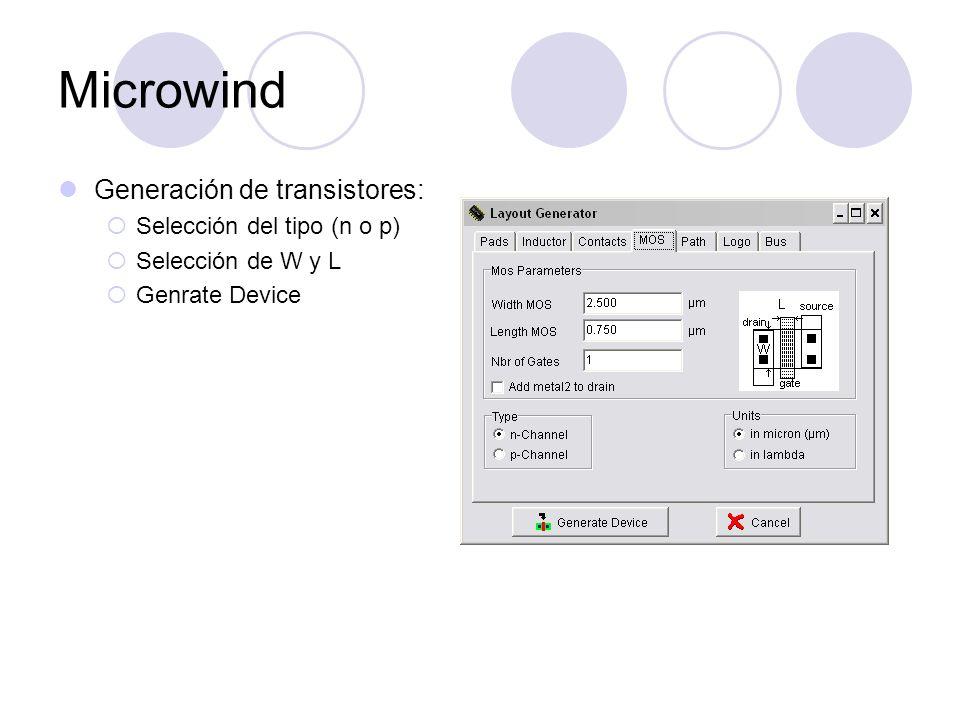 Microwind Generación de transistores: Selección del tipo (n o p)