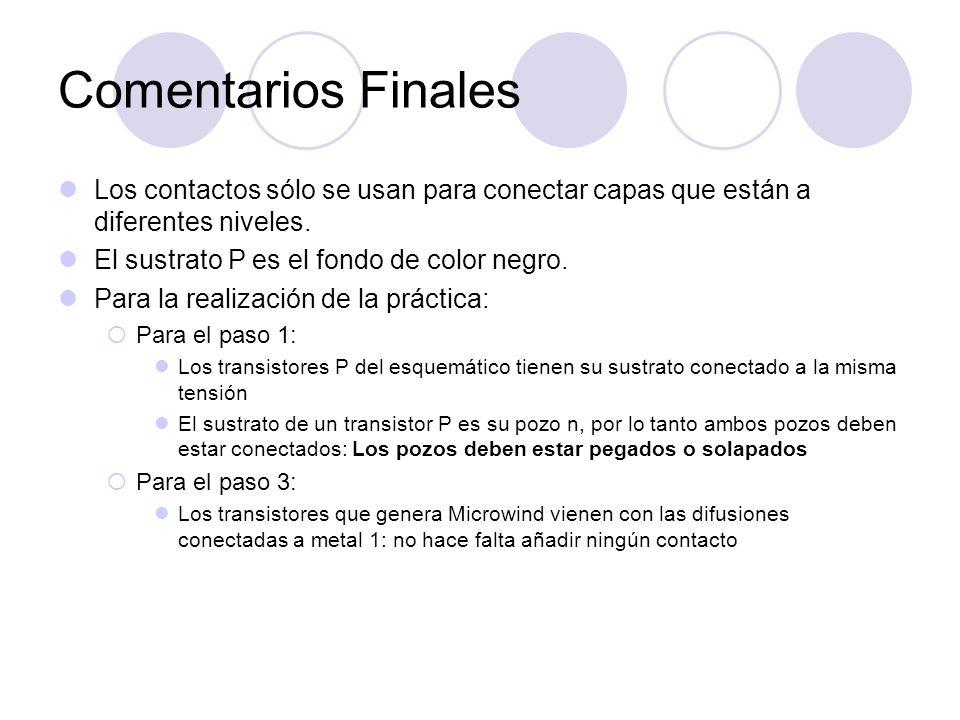 Comentarios Finales Los contactos sólo se usan para conectar capas que están a diferentes niveles. El sustrato P es el fondo de color negro.