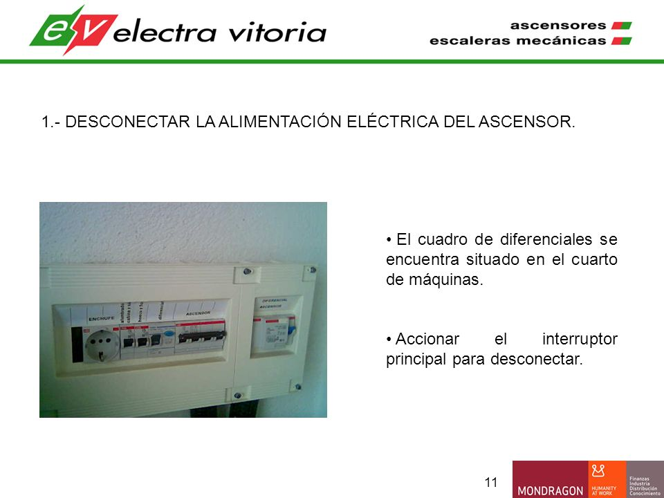 1.- DESCONECTAR LA ALIMENTACIÓN ELÉCTRICA DEL ASCENSOR.