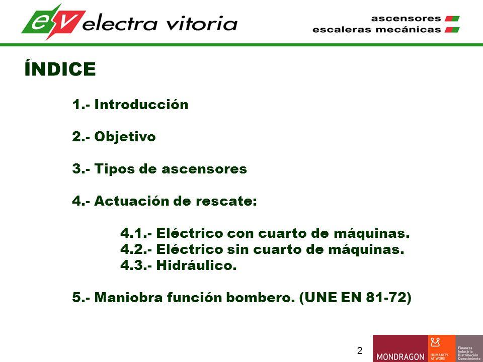 ÍNDICE 1.- Introducción 2.- Objetivo 3.- Tipos de ascensores