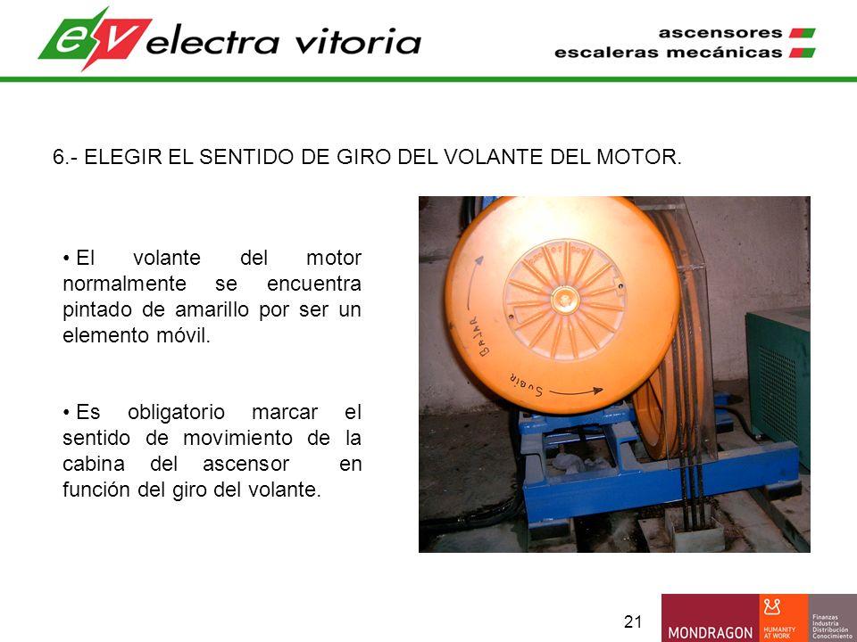 6.- ELEGIR EL SENTIDO DE GIRO DEL VOLANTE DEL MOTOR.