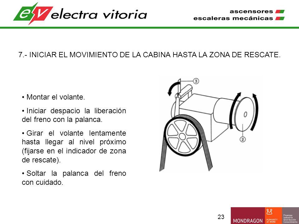 7.- INICIAR EL MOVIMIENTO DE LA CABINA HASTA LA ZONA DE RESCATE.