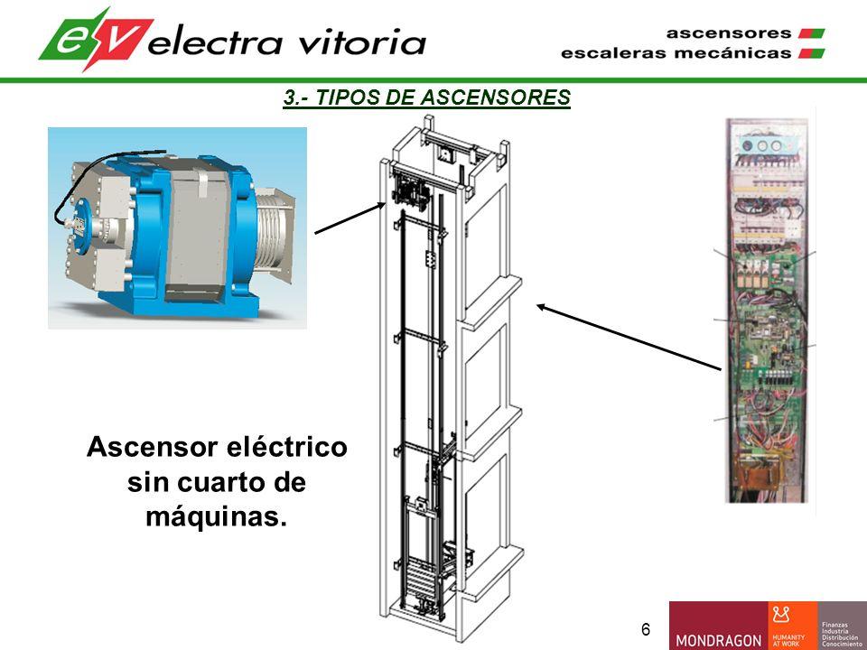 Ascensor eléctrico sin cuarto de máquinas.