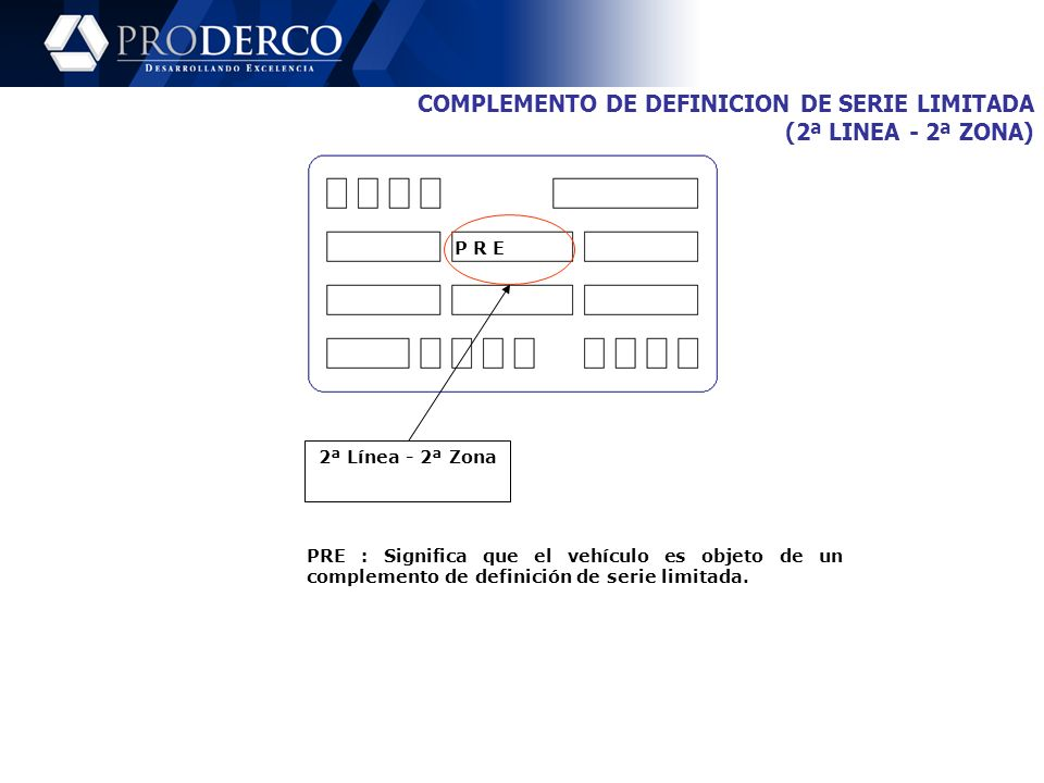 COMPLEMENTO DE DEFINICION DE SERIE LIMITADA (2ª LINEA - 2ª ZONA)