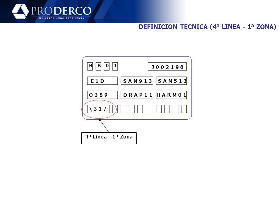 DEFINICION TECNICA (4ª LINEA - 1ª ZONA)
