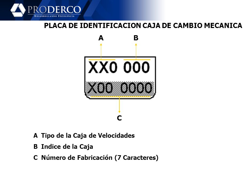 PLACA DE IDENTIFICACION CAJA DE CAMBIO MECANICA
