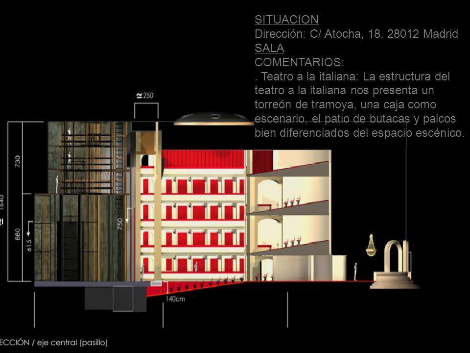 SITUACION Dirección: C/ Atocha, 18. 28012 Madrid. SALA. COMENTARIOS: