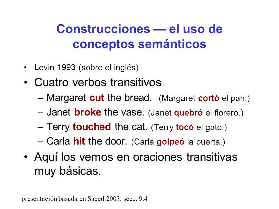 Construcciones — el uso de conceptos semánticos