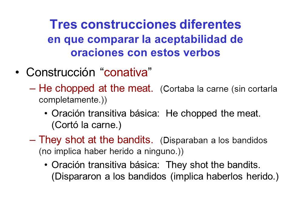 Tres construcciones diferentes en que comparar la aceptabilidad de oraciones con estos verbos