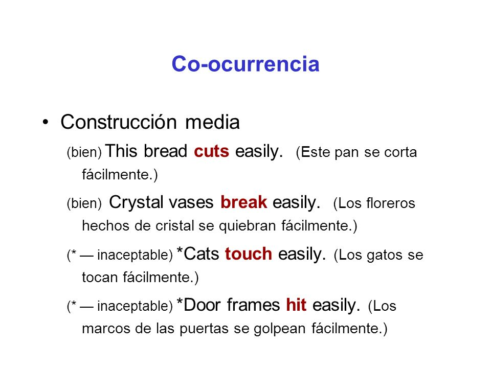 Co-ocurrencia Construcción media