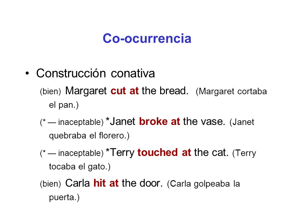 Co-ocurrencia Construcción conativa