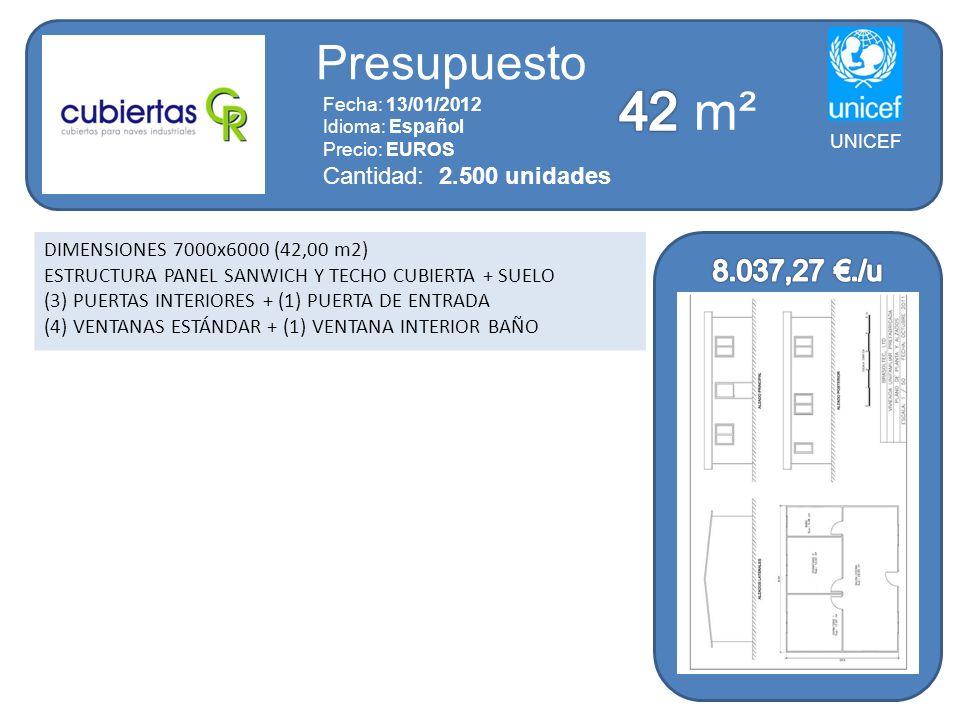 42 m² Presupuesto 8.037,27 €./u Cantidad: 2.500 unidades