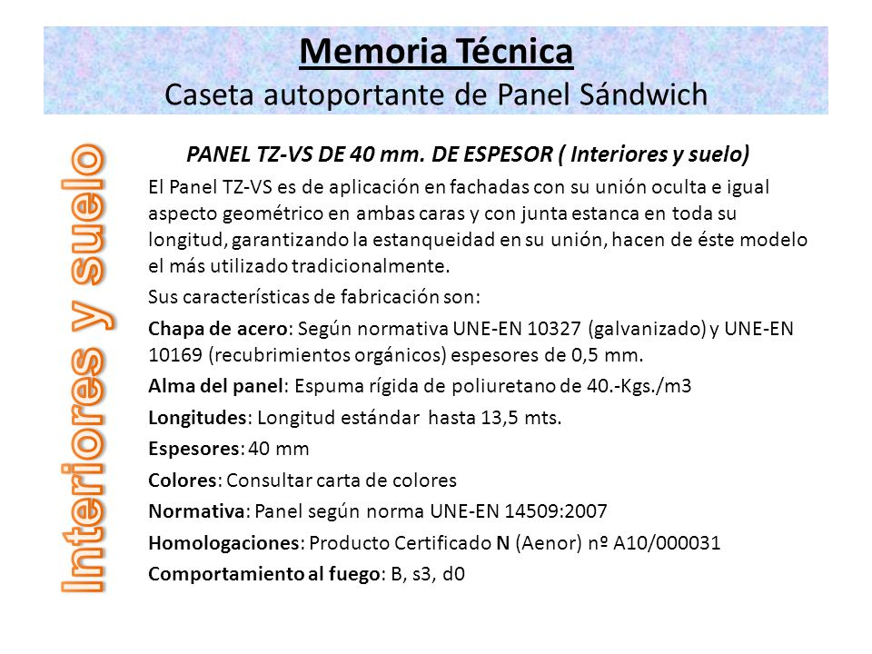 Memoria Técnica Caseta autoportante de Panel Sándwich