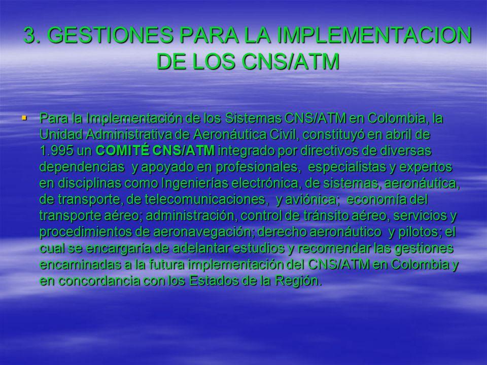 3. GESTIONES PARA LA IMPLEMENTACION DE LOS CNS/ATM