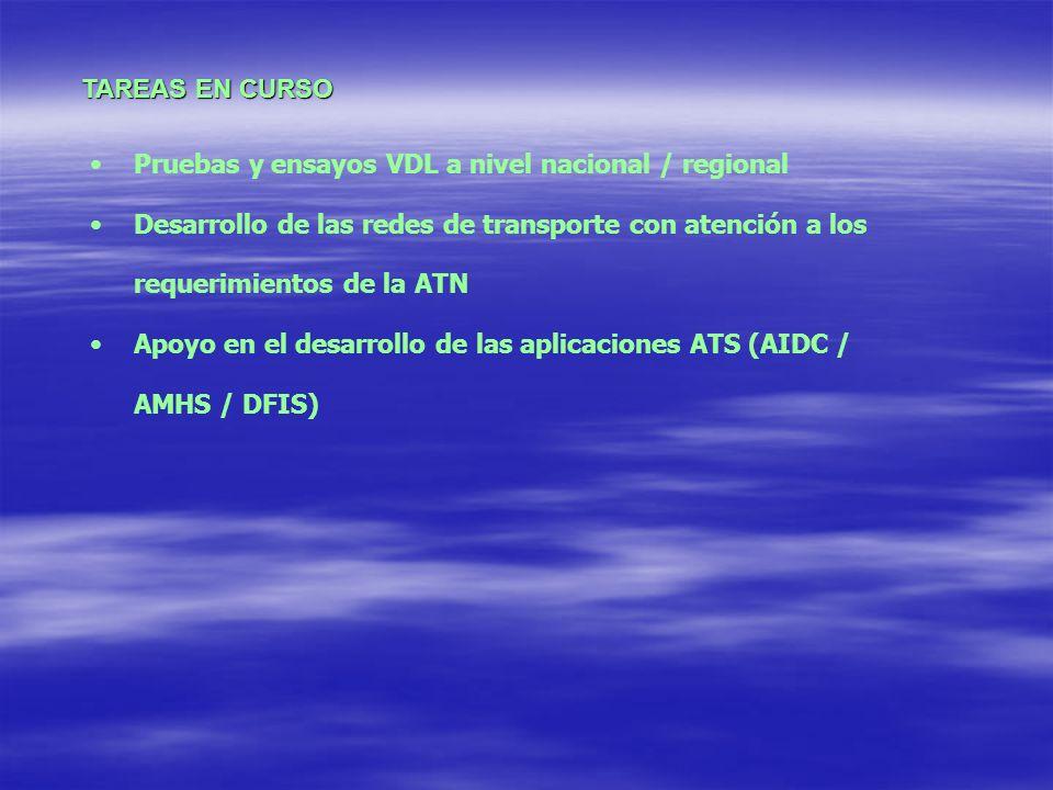 TAREAS EN CURSO Pruebas y ensayos VDL a nivel nacional / regional. Desarrollo de las redes de transporte con atención a los requerimientos de la ATN.