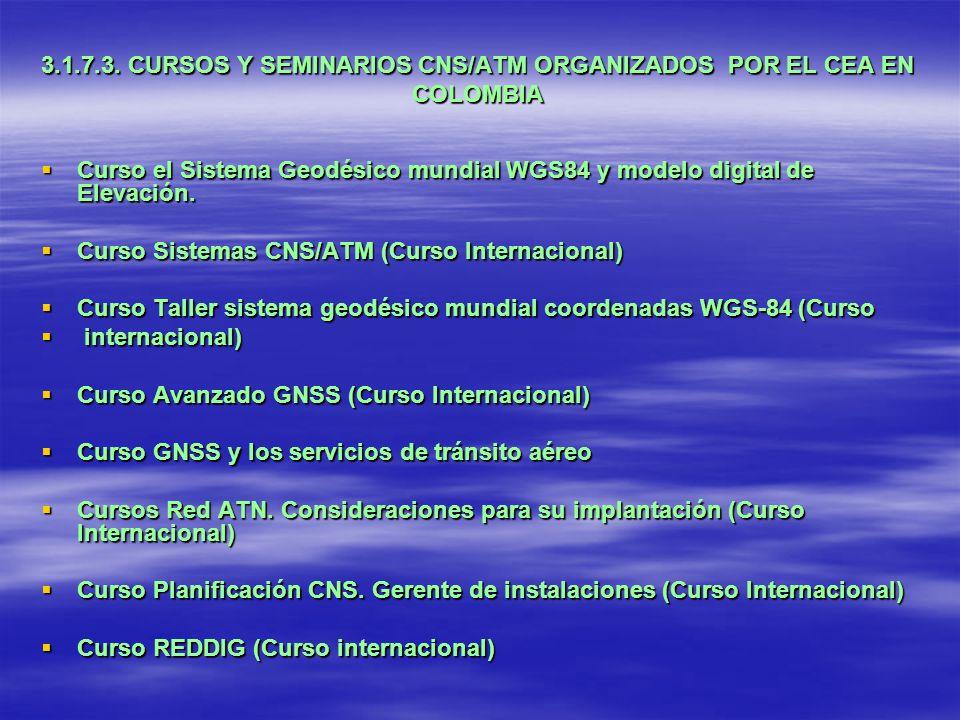 3.1.7.3. CURSOS Y SEMINARIOS CNS/ATM ORGANIZADOS POR EL CEA EN COLOMBIA