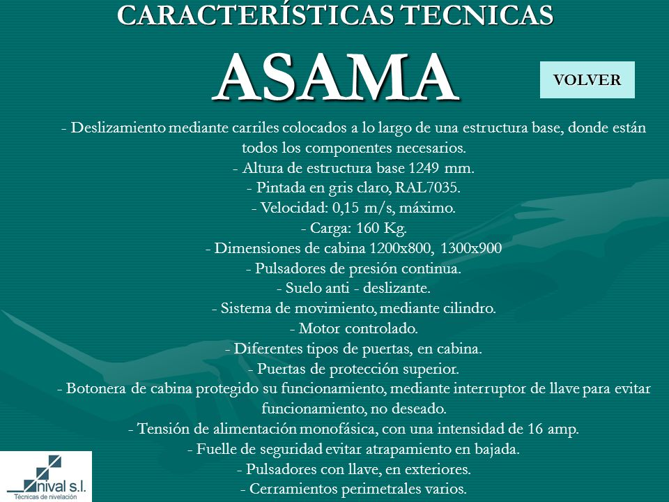 CARACTERÍSTICAS TECNICAS ASAMA