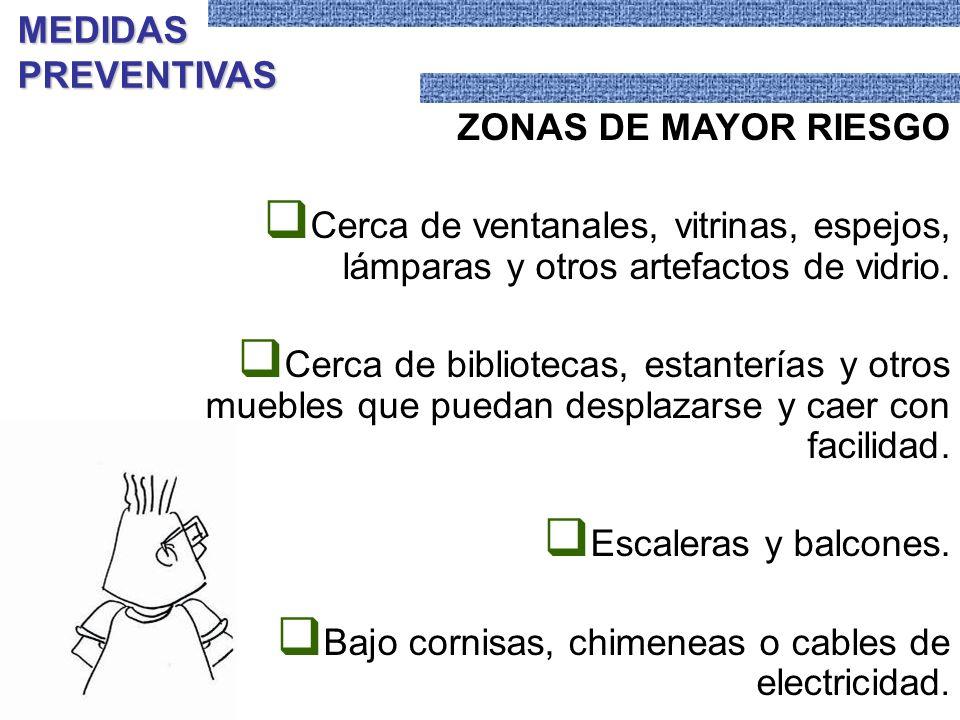 MEDIDAS PREVENTIVAS ZONAS DE MAYOR RIESGO. Cerca de ventanales, vitrinas, espejos, lámparas y otros artefactos de vidrio.